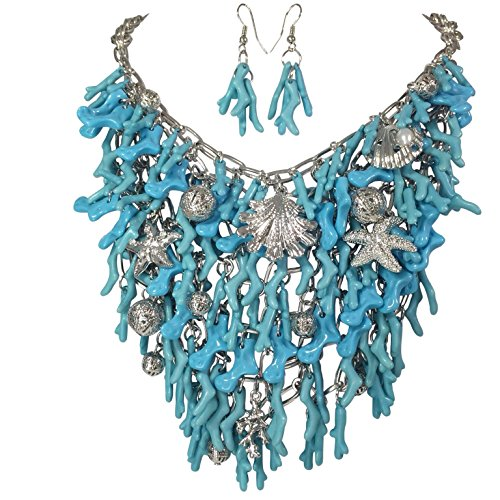 Sealife Bib Nautical Boutique Style Statement Beach Necklace & Dangle Earrings Set (Aqua Blue Silver ()