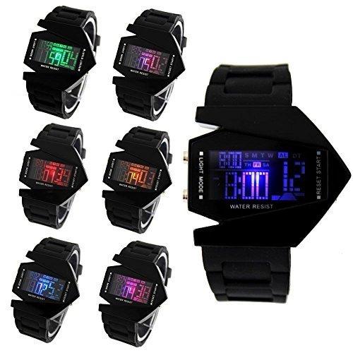 hiwatch estilo plano y elegante pantalla digital LCD 7 colores de silicona reloj de pulsera color negro con caja de regalo: Amazon.es: Relojes