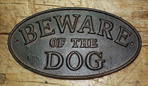 Price comparison product image Cast Iron Beware Of The Dog Oval Plaque Sign Rustic Ranch Wall Decor Kennel