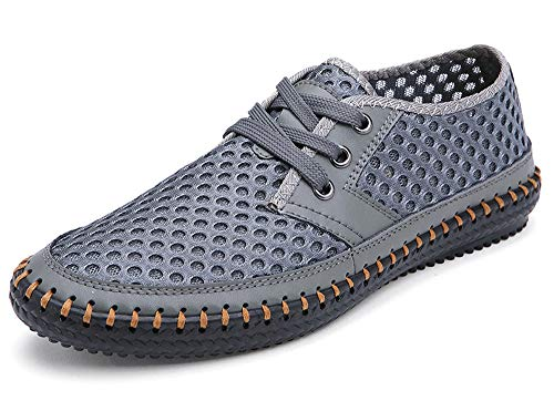 MOHEM Mens Womens Casual Mesh Water Shoes(WS3166Gray45)