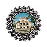 Ancient Style Silver Plate Travel Old Opera House Frankfurt Germany Leaves Cameo Pins Brooch