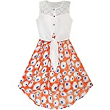 Sunny Fashion Girls Dress Chiffon Floral High-Low Tie Waist Party Princess Age 8 Years