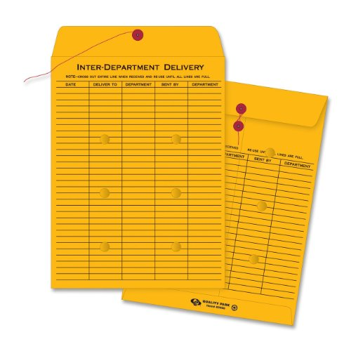 Quality Park - Brown Recycled Kraft String & Button Interoffice Envelope, 10 x 13, 100/carton - Pack of 4 ()
