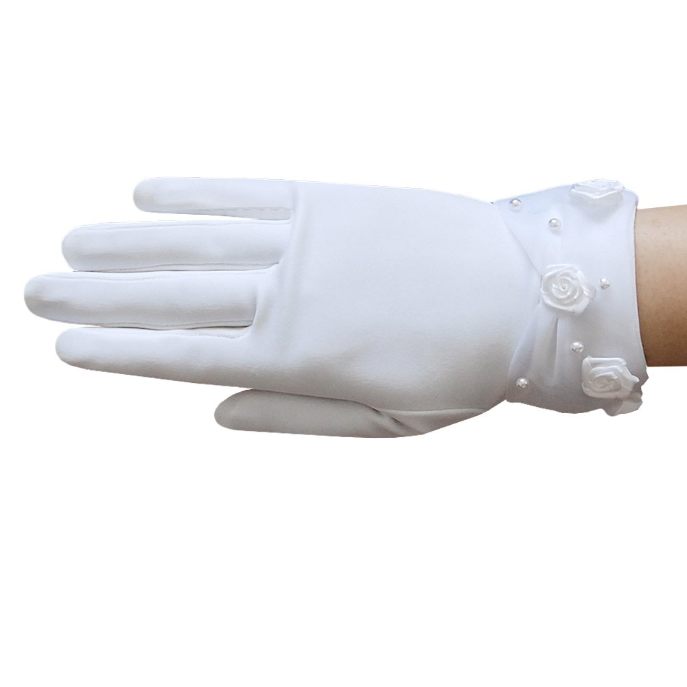 ZaZa Bridal Elegant stretch dull matte satin girl's gloves with faux pearl & rose accents sheer organza cuff- Girl's Size Small (4-7yrs)/White