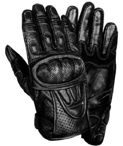 - Xelement XG298 Mens Black Leather Protective Padded Racing Gloves - X-Large