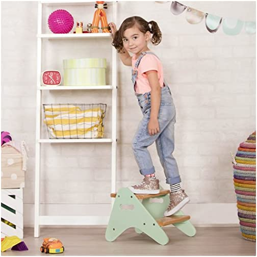 B. spaces by Battat – Kids Wooden Two Step Stool – Peek-A-Boost – Mint & Wood