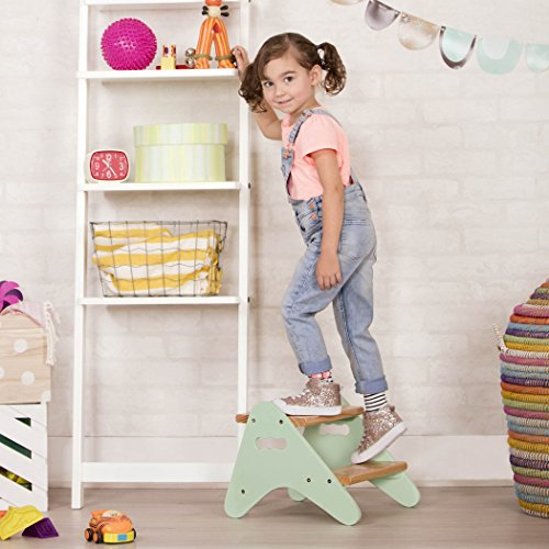 B. spaces by Battat Peek-a-boost Toddler Step Stool – Wooden Stool with 2 Steps Kids Furniture – Soft Mint and Wood