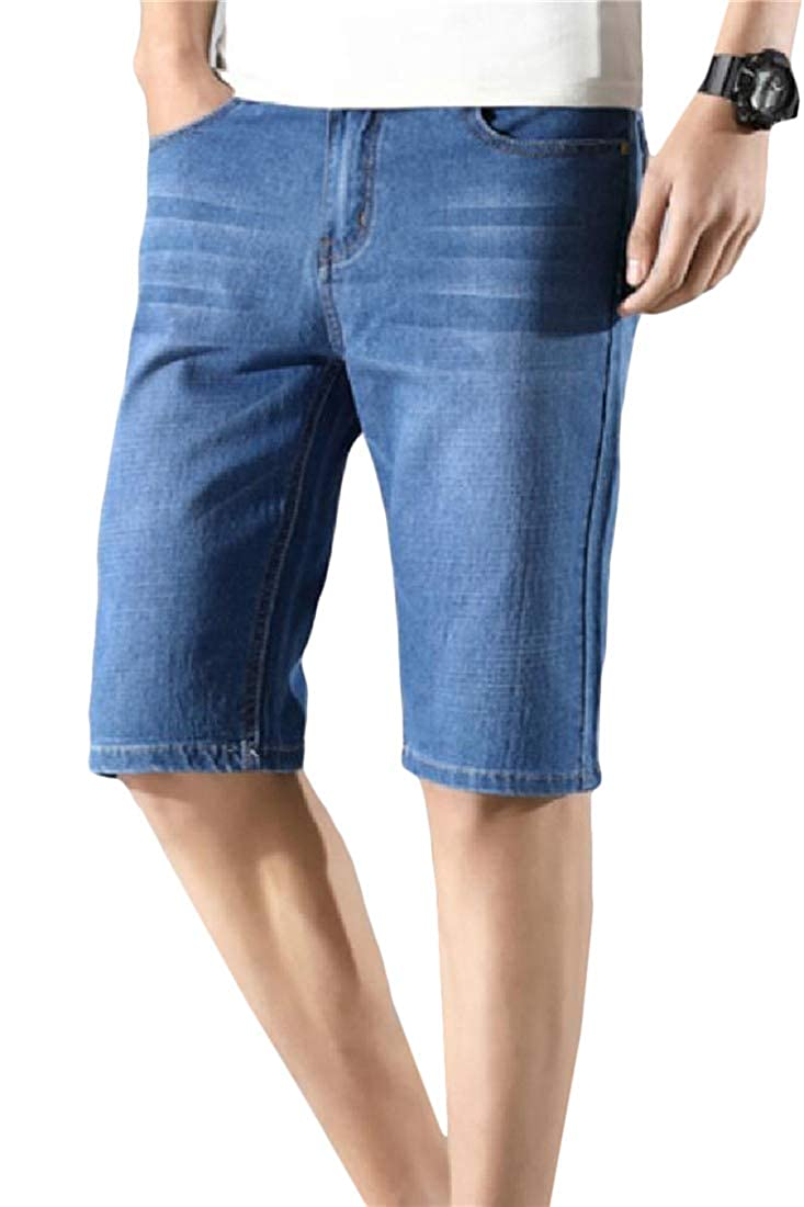 Lutratocro Mens Jeans Washed Open Bottom Mid Waist Denim Shorts