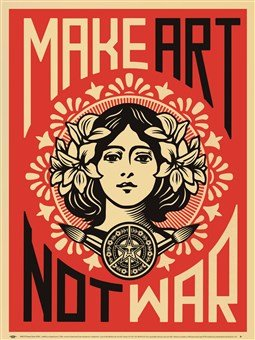 Make Art Not War Poster Print Shepard Fairey by Library Images