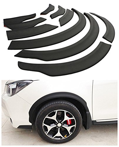 Baodiparts 16Pcs Front Rear Right Left Wheel Cover Protector Wheel Eyebrow Round Arc Cover Trim Black for Subaru Forester