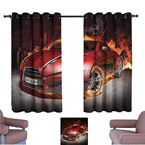 Mannwarehouse Cars Noise Reduction Curtain Burnout Tires Sport Car for Living, Dining, Bedroom (Pair) 72