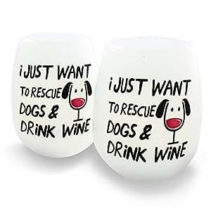 Amazon.com | Rescue Dogs & Drink Wine Unbreakable Wine