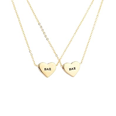 c92d71ff94ed2 Lux Accessories My BAE Pave Heart Boo Girlfriend Gangster Chain Link  Pendant Necklace