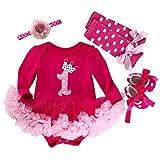 Marlegard Baby Girls' 4PCs Hot Pink 1st Birthday Tutu Dress Headband Shoe Leggings (18M(12-18months), Hot Pink)