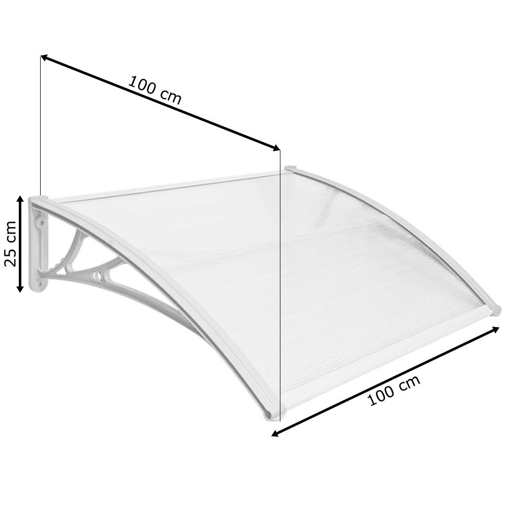 Auswahl:100 x 120 cm transparent Vordach Haust/ür Terrassent/ür /Überdachung Haust/ürdach Pultvordach Alu Kunststoff V2Aox Gr/ö/ßenauswahl Farbauswahl