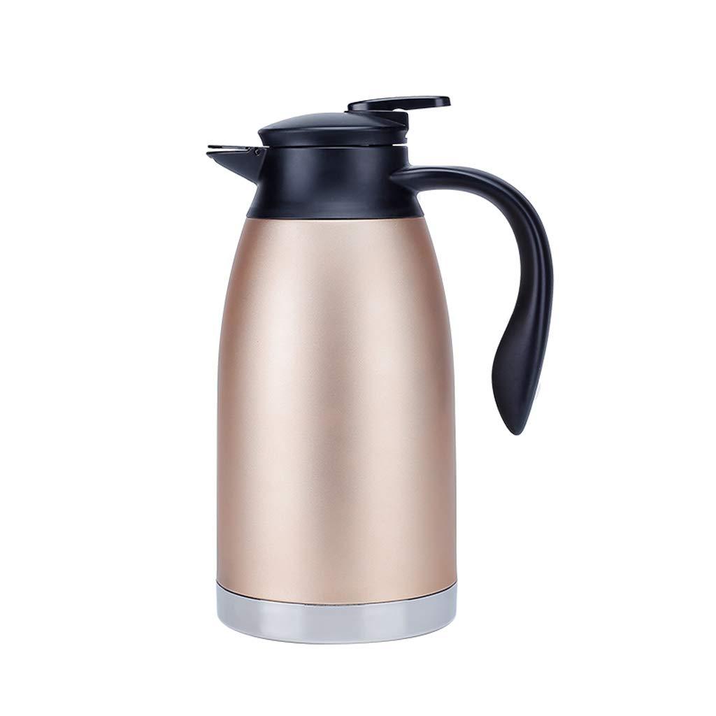 MLXRSH Rostfreier Stahl-Kaffee-Krug-doppelwandiger Vakuumisolierter Pitcher Große Thermos Heißer Tee Topf-2L