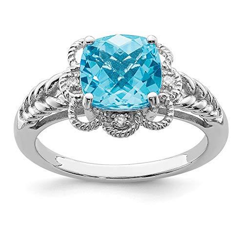Ring Diamond Cushion Bow Cut (Light Blue Topaz & .04 Ctw (H-I Color, I2-I3 Clarity) Diamond Scalloped Sterling Silver Ring Sz 7)