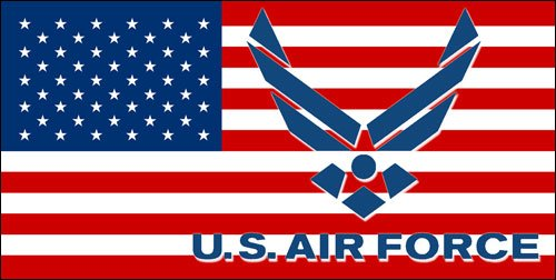 American Vinyl USA Flag with AIR Force Logo Sticker (Military USAF Decal) ()