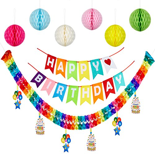 Happy Birthday Banner Pom Ball With paper garland, Stylish Colorful Birthday Party Decorations Supplies