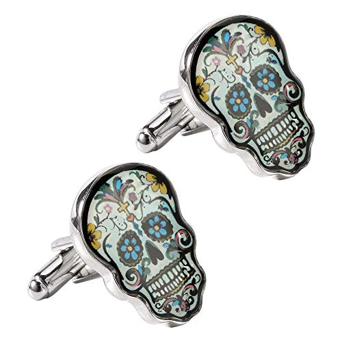 High end men's cool colored Skull modeling bullet cufflink, unique fashion design