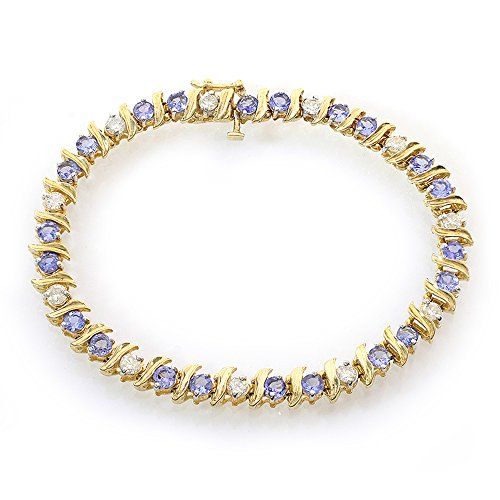 1.50 Carat Diamond and 4.00 Carat Tanzanite 14k Yellow Gold Tennis Bracelet 14k Yellow Gold Tanzanite Bracelet