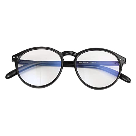 5a7b91f2a57 Vintage Round Eyeglass Frame Glasses Retro Spectacles Clear Lens (Black)