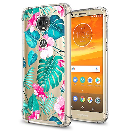 GORGCASE Moto E5 Plus Case, Moto E5 Supra, Motorola Moto E Plus (5th Gen) 2018 Slim Cute TPU Bumper Anti-Scratch Clear Pattern Designed Drop Shock Protective Cover for Girls Women Teen Tropical Leaf