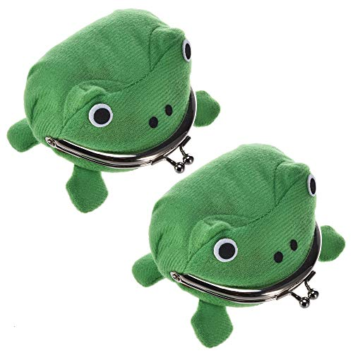 Coin Purse, 2pcs Cute Green Frog Coin Bag Purse Wallet Role Playing Anime Plush Toys Funny Purses School Prize Toy Gift ()