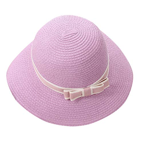antehome Women Outdoor Sun Protection Wide Brim Straw Hat for Beach Fishing Hiking Golf Walking Pink ()