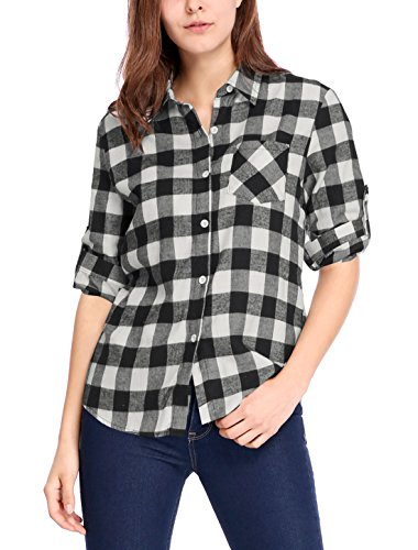 Allegra K Women's Button Up Point Collar Casual Plaids Shirt L White Black