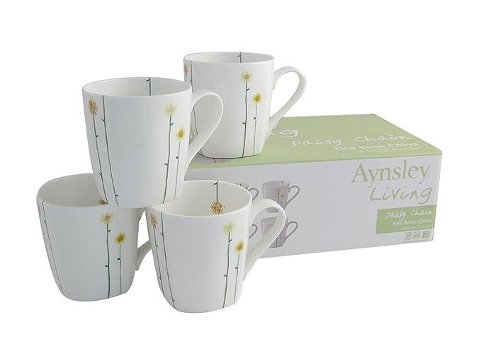 Aynsley Fine Bone China Daisy Chain Mug Set, Set of 6, White: Amazon ...