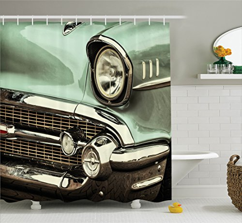 Ambesonne 1950s Decor Collection, Retro Style Image front of a Green Antique Car American Bumper History Luxury Polished Pattern, Polyester Fabric Bathroom Shower Curtain Set with Hooks, Light Jade ()