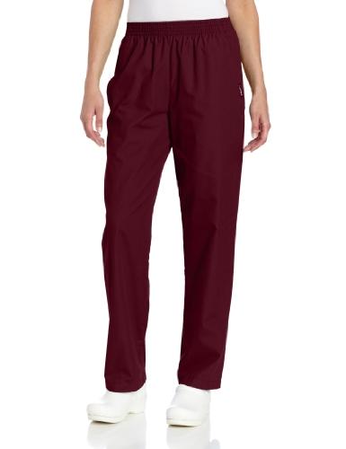 - Landau Women's Plus Comfortable Relaxed Fit 2-Pocket Elastic Waist Scrub Pant, Wine, 2X-Large Petite