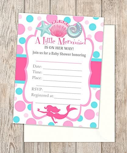 amazon com  mermaid baby shower fill in blank invitations  flat cards  set of 20  pink mermaid
