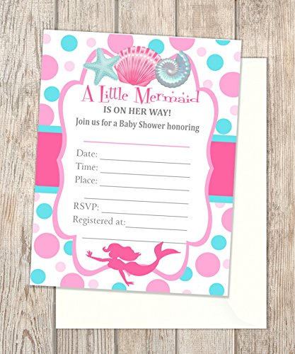 Mermaid Baby Shower Fill In Blank Invitations, Flat Cards, Set Of 20, Pink