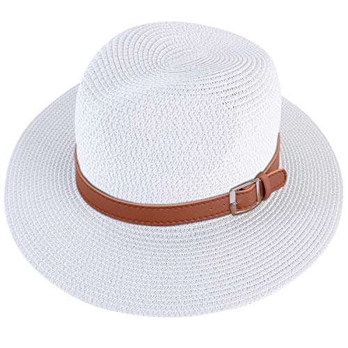 Lanzom Men Wide Brim Straw Foldable Roll up Hat Fedora Summer Beach Sun Hat UPF50+ (Style C-White, Large Size:Fit for 23