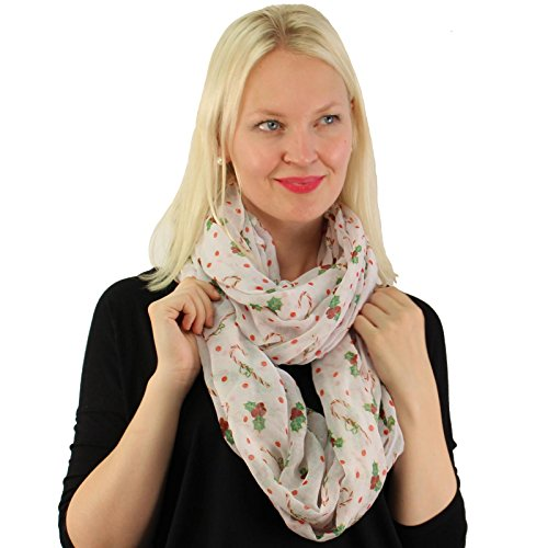 Mistle Toe Hat (Candy Cane & Mistletoes Christmas Xmas Holiday Light Loop Infinity Scarf White)