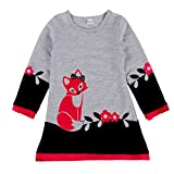 BOBORA Little Girls Cotton Fox Flower Patterns Long Sleeve Dress 2-7Years