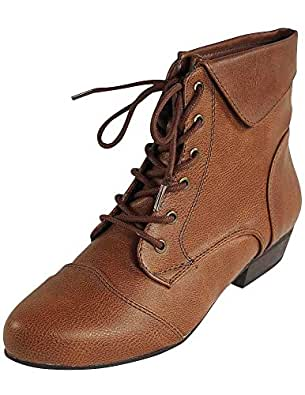 INDY-11 Lace Up Oxford Cuffed Anke Bootie Boot,Indy-11 Tan 5.5