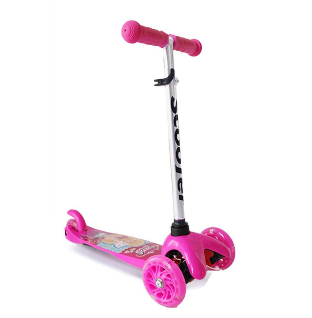 XUEYING-KickScooter Kinderroller-Roller-Dia-Karikatur-Muster-Schwingen-Auto-Blitzrad (Farbe   Rosa) Rosa