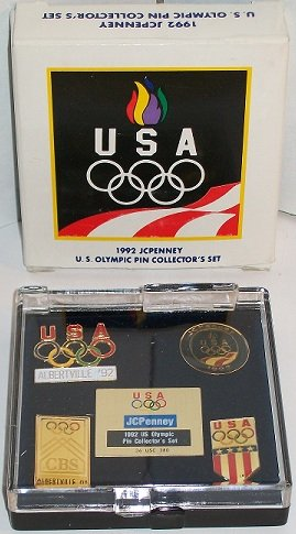 USA 1992 JCPenney US Olympic Pin Collector's Set In Box - 1992 Olympic Pin