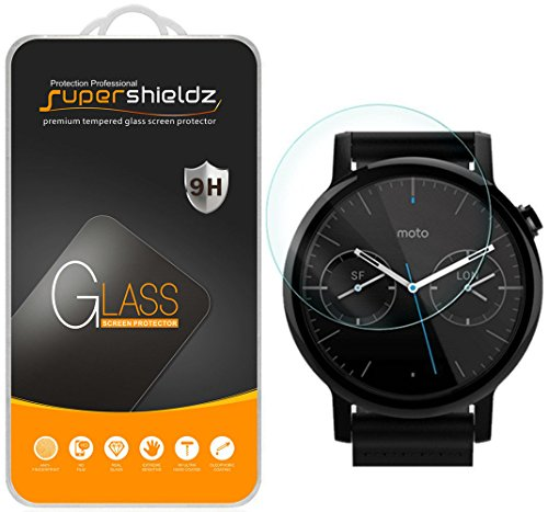 [2-Pack] Supershieldz for Moto 360 42mm (2nd Gen) Tempered Glass Screen Protector, Anti-Scratch, Anti-Fingerprint, Bubble Free, Lifetime Replacement Warranty