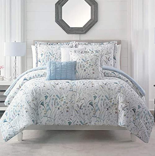 Royal Heritage 3 Pc Duvet Set Floral Pattern with Flowers in Shades of Purple Blue Green Beige Orange on White, 100% Cotton Luxury Quilt Comforter Cover - Olivia (Queen)