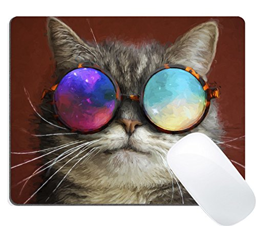 Wknoon Gaming Mouse Pad Custom, Cute Hipster Cat with Colored Rainbow Sunglasses Oil Painting - Painting Sunglasses