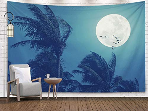 Tree Sunset Forest Ocean,Tapestry Wall Hanging,Wall Hanging Tapestry,EMMTEEY tapestries Décor Living Room Bedroom for Home Inhouse By Printed 80x60 Inches for night Full moon and palm leaf birds fly a ()