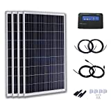 Komaes 400 Watts 24 Volts Polycrystalline Solar Starter Kit with 20A PWM Charge Controller + 20ft Tray Cable + 20ft MC4 Connectors + Mounting Z Brackets