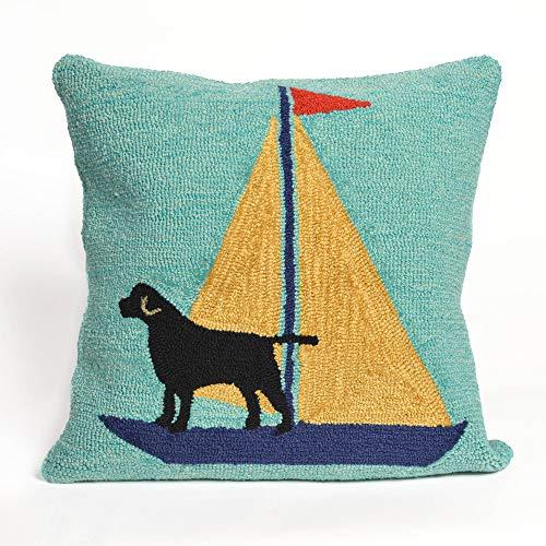 Designer Pillow Dog (Liora Manne 7FP8S140209 Frontporch Pet Boat Dog Sailing Dogs Indoor/Outdoor Pillow 18