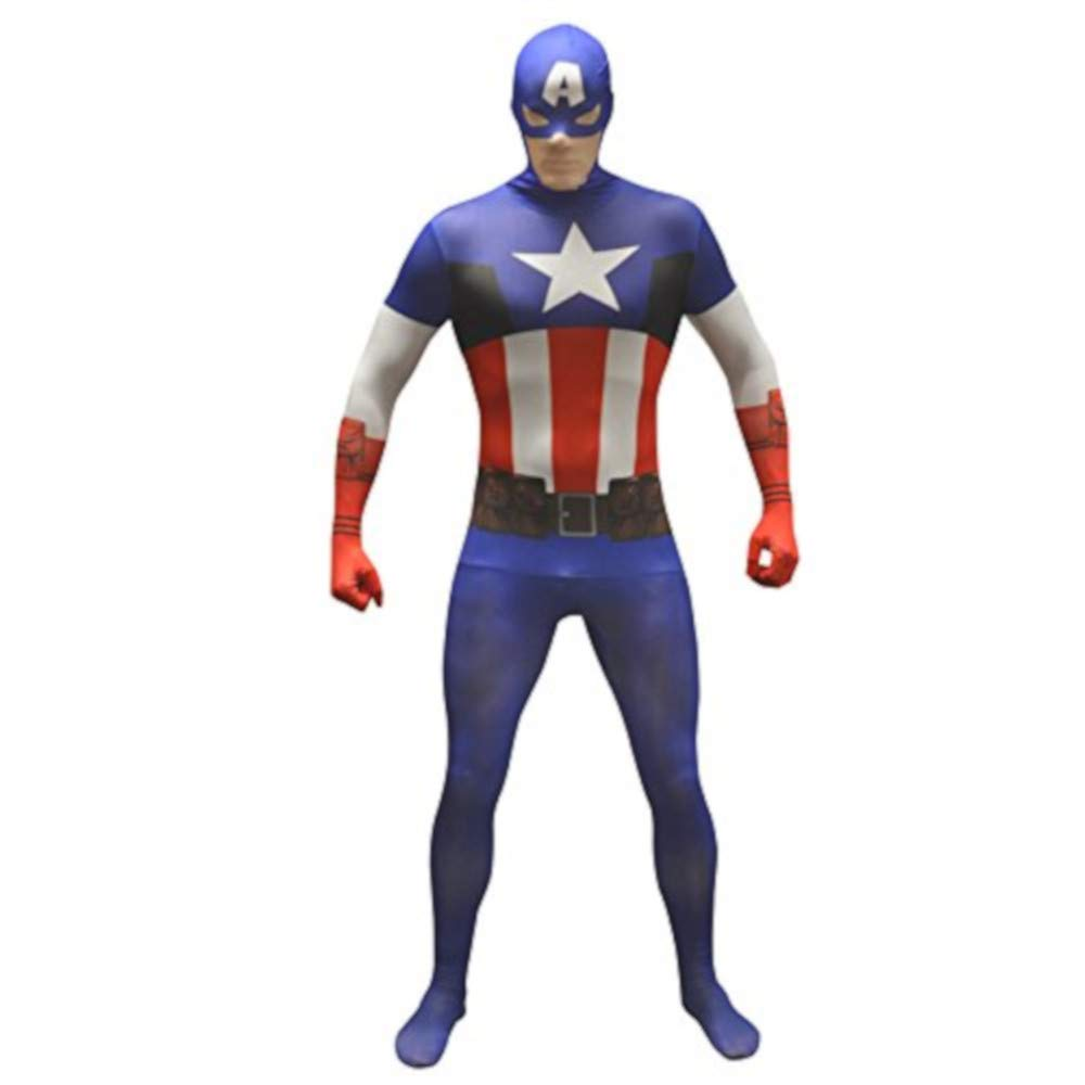 B-kreative Erwachsenen-Kapitän America Grund Morphsuit ausgefallene Kleid Kostüm Halloween-Outfit UK Capt Premium Party braucht (XXL)