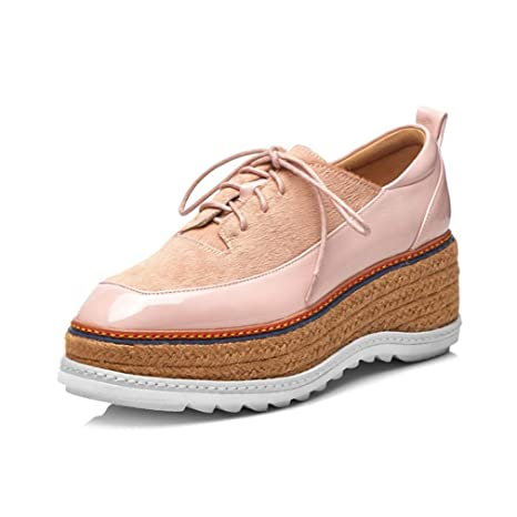 YAN Zapatos Casuales de Las Mujeres 2019 nuevos Mocasines de Charol Plataforma cuñas Cruz Encaje hasta