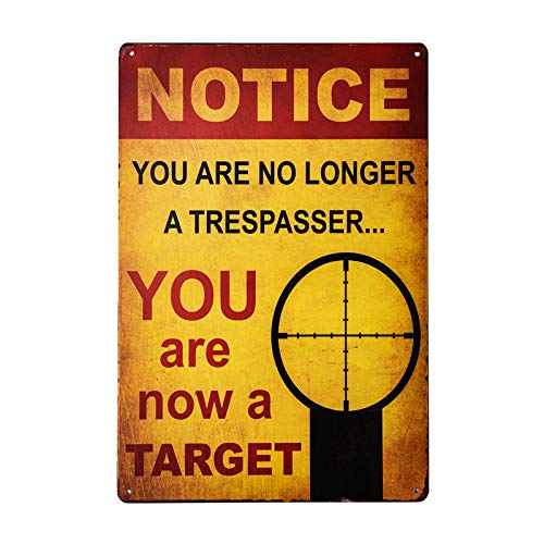 DL-Warning You are no Longer Trespassing - You are a Target - Funny Metal Sign